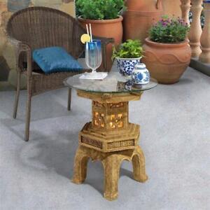 KY4130 - Tranquil Pagoda Illuminated Glass-Topped Table