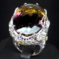 MULTI COLOR AMETRINE RING 30.30 CT.SAPPHIRE AMETHYST 925 STERLING SILVER SZ 7.25