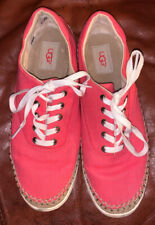 Ugg Women'S Coral Pink Canvas Jute Trimmed Casual Tennis Shoes Sz 9