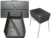 Mangal Portable Barbecue Grill Foldable Steel BBQ Case Sashlik 8 Skewer 1.5 mm