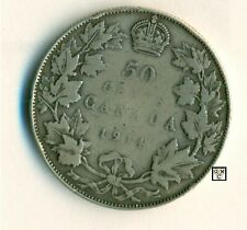 Canada 1914 - 50cents Coin ; Very Good  ; CPF