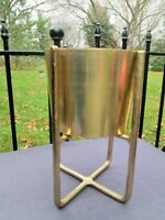 VTG Gold Aluminum Planter Pot MCM Plant Stand Hollywood Glam Table Planter 12""