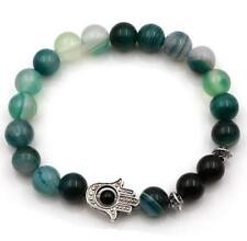 8mm Green Onyx Bracelet Bead Buddhism Stretchy Stretchy mala energy Tibet silver