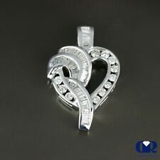 Natural 0.82 Ct Diamond Heart Shaped Pendant Necklace 14K White Gold