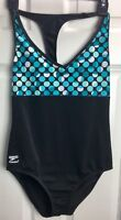 SPEEDO ENDURANCE Sz 10 Aqua Black Dot 1pc Racer Back Fully Lined Swimsuit