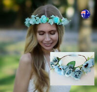 Women Ladies Blue Sun Flower Hair Headband Leaf crown Prop Garland Tiara ribbon