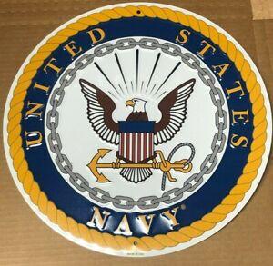 "UNITED STATES NAVY 12"" ROUND METAL SIGN ~ MILITARY Non sibi sed patriae"