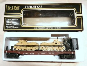 K-Line O K-1991 DC Flat Car ATSF 6991 w/ 2 Solido Tan Military Tanks Egypte~T194