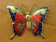 Vintage Multi Color Enamel BUTTERFLY Pin Brooch