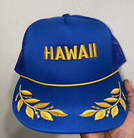 Vintage 90s Hawaii Trucker Hat Hawaiian Blue Yellow Snapback Laurel Leaves