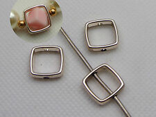 50 Gold Tone Metallic Acrylic Square Spacer Bead Frame Charms 13mm
