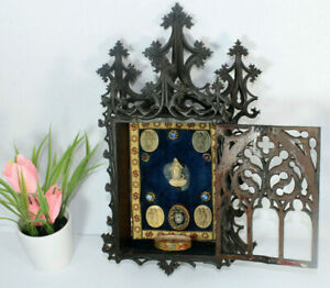 Antique neo gothic wood carved relic holder cabinet religious church rare