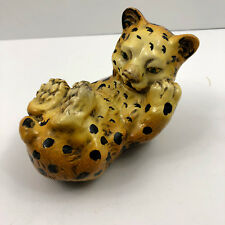 Vintage Cheetah Cub Paperweight Made in Portugal Animal Big Cat Heavy