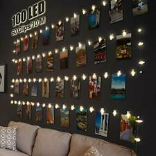 100 LED Photo Clip String Lights, 10M Photo Peg Fairy Lights with 60 Clips.