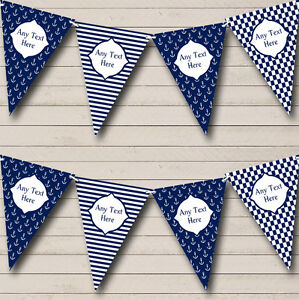 Navy Blue Nautical Anchor Stripes Personalised Birthday Party Bunting Banner