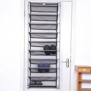 10 Tier 36 Pair Over Door Hanging Shoe Rack Holder Storage Organiser Stand Shelf