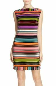 Trina Turk L Large Felana Striped Tunic Shift Dress Stretch Jersey NEW