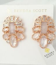Kendra Scott Huckaby Clear Rock Crystal Earrings Rose Gold NWT $135