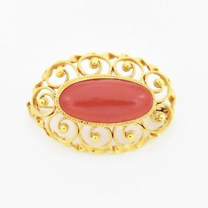 10k Yellow Gold Estate Open Work Red Coral Oval Pin/Brooch