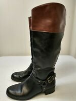 Rampage Women's Comfort Shoes Size 8.5 M Knee High Boots Black Brown Buckle