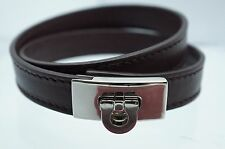 New Salvatore Ferragamo Double Wrap Bracelet Gancio Closure Wine Brown Leather