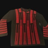 BERGATI BIGGIE COOGI INSPIRED STYLE COSBY SWEATER MEN'S Large Black And Red