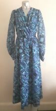 VINTAGE 70S BEAUTIFUL BLUE PSYCHEDELIC CHECK PRINT CHIFFON RETRO MAXI DRESS 12