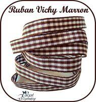 LOT 2M RUBAN VICHY A CARREAUX MARRON SCRAPBOOKING 10MM