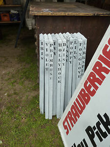 "set of 5 ANTIQUE fence post pickets w/FLOWER name SIGNS 36"" x 1 3/8"""