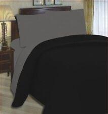 4pc complet lit simple taille réversible noir / gris housse de couette bed set