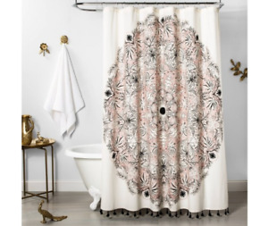 "OPALHOUSE Calliope Medallion Shower Curtain Pink Black 72"" x 72"""