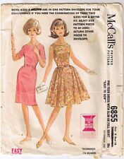 Vtg 60s Girls Slim Full Skirt Dress Sewing Pattern Junior Pre Teen Sz 8 B 28""