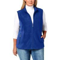 Karen Scott Womens Size Large Sport Zip-Up Zeroproof Fleece Vest Ultra Blue Soft