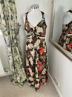 LK Bennett Size 14 floral print cotton floor length holiday maxi dress Summer