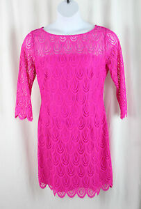 Lilly Pulitzer Women's NWT Magenta Two Tone Feather Lace Hera Dress Size 14