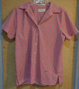 Orvis Red White Gingham Check Short Sleeve Size 14 Button Casual shirt Large Top