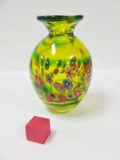 MURANO ITALIAN STUDIO HAND BLOWN YELLOW GREEN ART GLASS VASE WITH MILLEFIORI