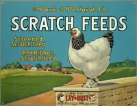 "Scratch Feeds Farming Chickens Eggs Poultry Retro Tin Metal Sign 16"" x 13"""