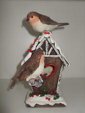 Robin en Birdhouse (Casa) ornamento de Navidad
