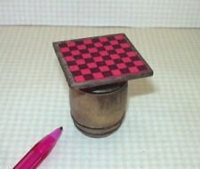 """Miniature Checkerboard (1 7/16"""" Square) on Aged Wooden Barrel: DOLLHOUSE 1:12"""