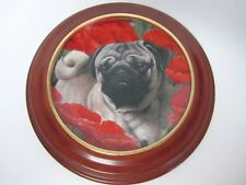The Danbury Mint Poppy Love Pugs Plate by Simon Mendez