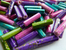 150 Acrylic Tube Drawbench Beads 12mm x 3mm Mix of 4 Colours Jewellery Making