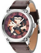Police PL.14474JS/20 Armor-X Brown Dial Brown Leather Strap Men's Watch