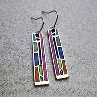 Vintage Women Girls Ear Hook Stud Dangle Drop Moonstone Turquoise Earrings Gift