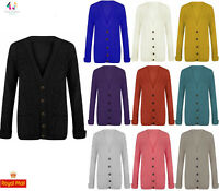 Women's Ladies Long Sleeve Button Cable Chunky Knitted Top Knit Grandad Cardigan