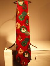 VINTAGE COLORFUL CHRISTMAS ORNAMENT NECK TIE 100% POLYESTER 57 INCH