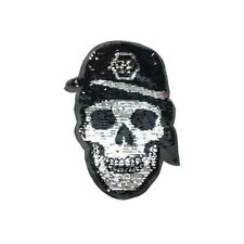 Reversible Double Sequin Skull XL (Sew On) Embroidery Applique Patch Sew Badge