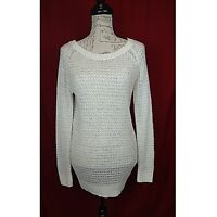 Its Our Time Womens Sweater Size Small Ivory Long Sleeve Open Knit