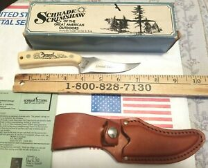 SCHRADE USA SCRIMSHAW SHARPFINGER SC502 RUNNING DEER FIXED BLADE KNIFE  1983 NIB