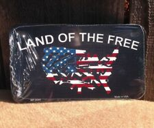 """*Motorcycle* 4"""" x 7"""" Land of The Free Because Brave License Plate"""